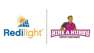 Hire A Hubby and Redilight partnership for solar lighting installation