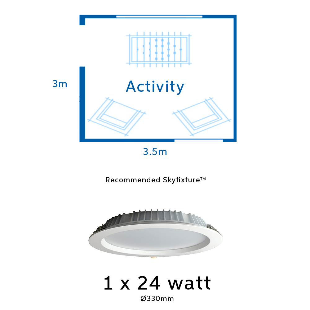 24 watt light fitting for activity rooms, rumpus rooms and living areas