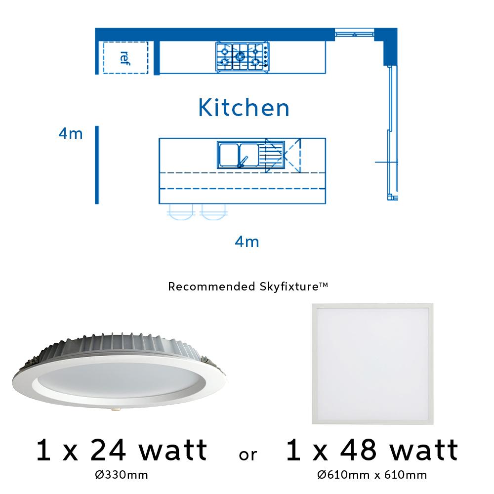 24 watt light fitting for kitchens and 48 watt light fitting for kitchens